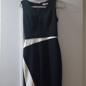 Curvy dress black and Ivory .zipper on the back